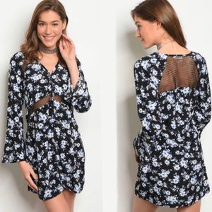 Black, blue and white long sleeve  floral dress
